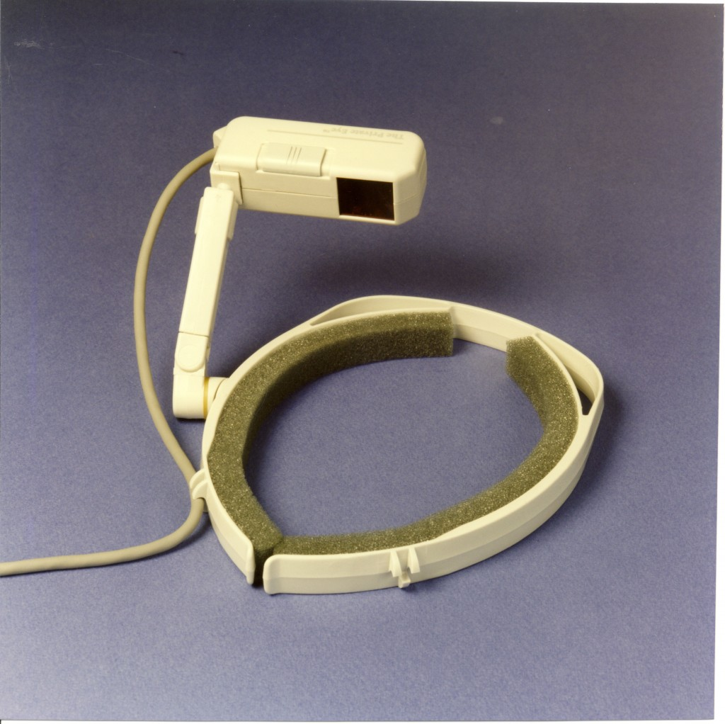 """Private-Eye"" Head-mounted display by Reflection Technologies, 1989"